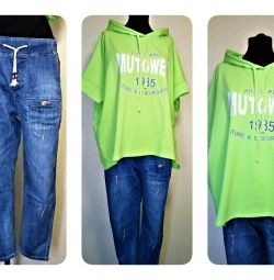 Stylish jeans and hoodie 54-56