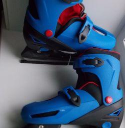 Коньки раздвижные синие DFK6510, размер 39-42
