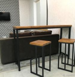 Loft bar table with chairs