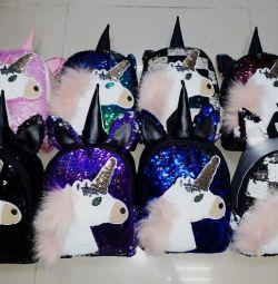 Рюкзаки Единороги с пайетками