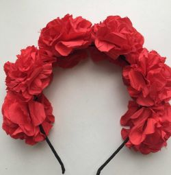 Headband new on hair flowers roses red handmade
