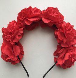 Κορδέλα νέα στα λουλούδια τριαντάφυλλα μαλλιών κόκκινα χειροποίητα