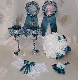 Wedding witnesses icons wine glasses bouquet