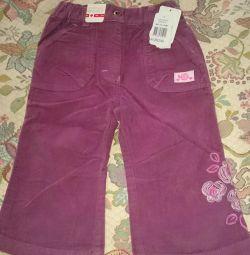 Pantaloni din catifea pentru fată nou p. 86. copil