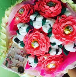 Flowers from sweets, bouquets of sweets