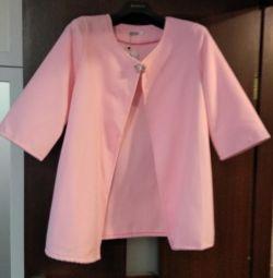Рожевий жакет із застібкою-брошкою