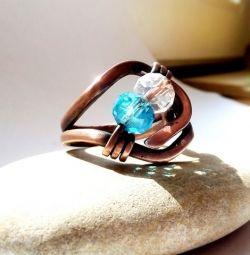 Inel de cupru cu cristal