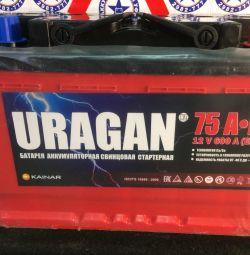 Аккумулятор новый URAGAN 75 ампер