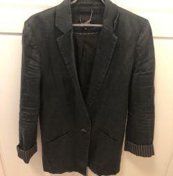 Jacket black flax