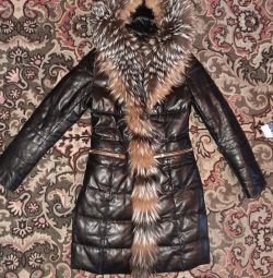 Leather down jacket.