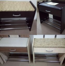 Shoe cabinet with padded seat and shoe rack