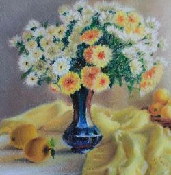 Painting with pastels.