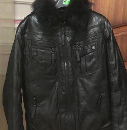 Зимова куртка шкіряна