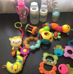 Feeding bottles, teat for feeding, toys and slitting