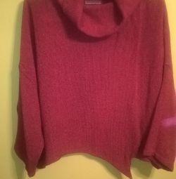 pulover portocaliu cu guler 62-64