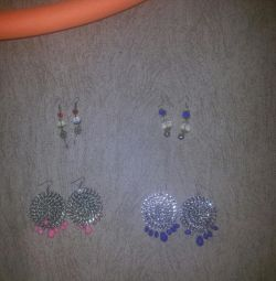 Earrings each pair for 10 rubles.
