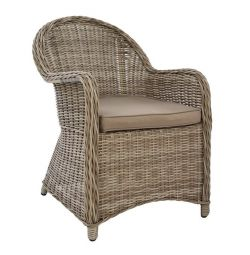 RATTAN ALUMINUM ARMCHAIR BEIGE WITH HM513 PILLOW