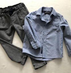 Gömlek + Mothercare pantolonu, р.92-98