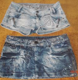 Denim skirt and shorts