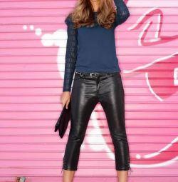 Супермодные брюки с эффектом влажной ткани