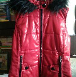 Κόκκινο γιλέκο με γούνα