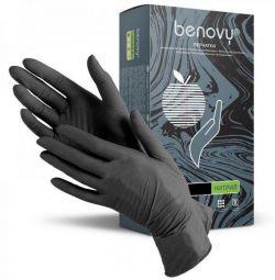 Перчатки BENOVY Nitrile Черные S,M 100 пар