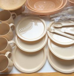 Plastic picnic dishes and vases