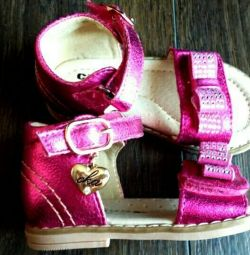 Sandale noi, din piele