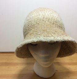 Шерстяная шляпка песочного цвета, р-р 53-56,арт330