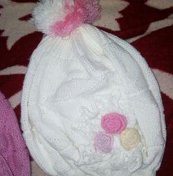 Children's hat, white, new.