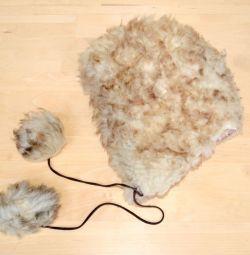 Pălăria blană pentru copii pe fetița de 7-10 ani