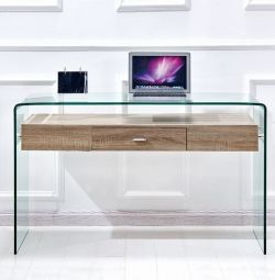 OFFICE CONSOLE 1 STAINLESS STEEL FROM GLASS AND MDF 125X40X