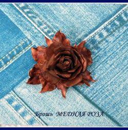 Brooch COPPER ROSE from Foamiran