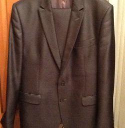 Husband suit 52-54 / 170 color-wet asphalt with shine