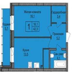 Apartament, 1 cameră, 42,3 m²