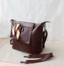 Нова коричнева сумка з натуральної шкіри