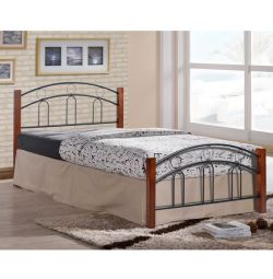 Simple Metal Wood Bed 110x190