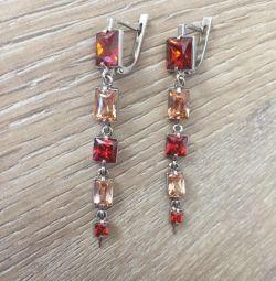 Silver long earrings with cubic Zirkonia