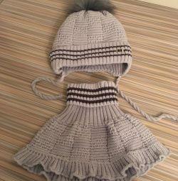 Комплект шапка + манишка