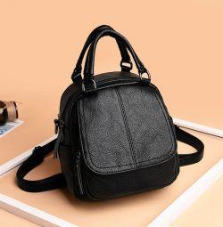 Çanta - kadın sırt çantası, eko-deri, siyah, yeni