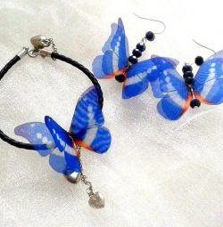 Set. Bratara + cercei # Butterfly din mătase