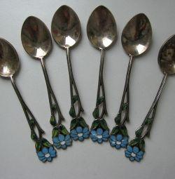 Set of cupronickel spoons with modern enamel