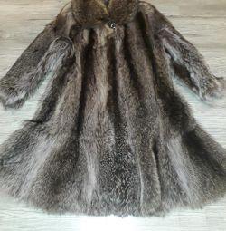 Raccoon fur coat.