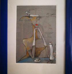 Картина маслом в синей раме А4