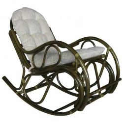 Rattan rocking chair with puffy pillow