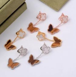Tiger Stone / Mother of Pearl Butterfly Earrings