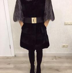 haină de blană Beaver + vulpe