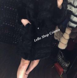 Fur coats of genuine rabbit fur