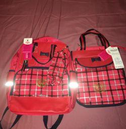 Okul sırt çantası ve ayakkabılar için bir çanta (SET)