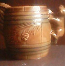 Keg / jug / vase ,, BEAR ,, 1971.SSSR.keramika